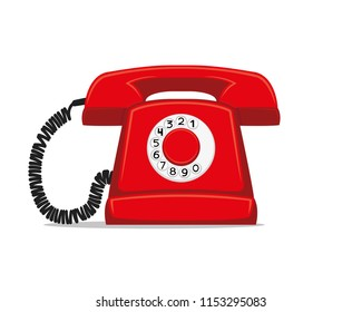 Red retro phone on a white background.