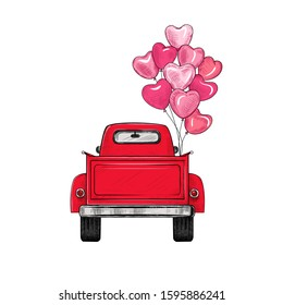 Red retro pickup truck with balloons. View from behind.Vector vintage illustration. Color sketch.