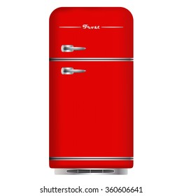 Red retro refrigerator. Home appliances. Isolated on white background. Vector Image.