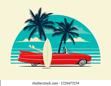 Red retro roadster car with surfing boards on the beach with palm silhouettes on background. Summer time themed vector illustration for poster or card or t-shirt or sticker design.