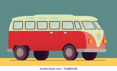 Red retro van car - 1950-1970, seventies, sixties. On the beach sand, summer, hippie lifestyle. Vector illustration eps10. Flat style, isometric side view. Design similar to Volkswagen T1 Transporter