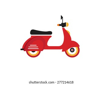 Red retro vintage motor bike icon isolated on white background