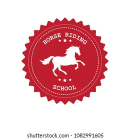 red retro vintage round logo with horse and text horse riding school mockup