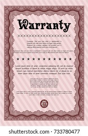 Red Retro vintage Warranty Certificate. Superior design. With linear background. Vector illustration.