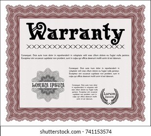 Red Retro vintage Warranty Certificate. With background. Detailed. Money design.