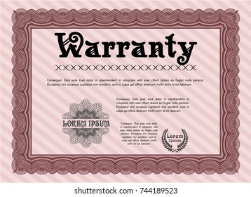 Red Retro Warranty Certificate template. Customizable, Easy to edit and change colors. With great quality guilloche pattern. Lovely design.