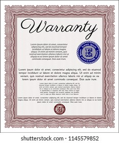 Red Retro Warranty template. Detailed. With guilloche pattern. Superior design.