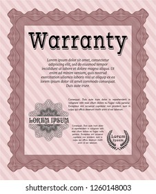 Red Retro Warranty template. Detailed. With linear background. Beauty design.
