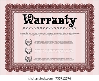 Red Retro Warranty template. Detailed. Complex background. Good design.