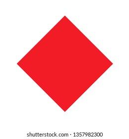red rhombus basic simple shapes isolated on white background, geometric rhombus icon, 2d shape symbol rhombus, clip art geometric rhombus shape for kids learning