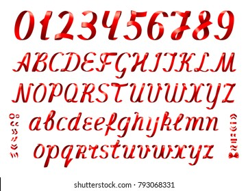 Red ribbon alphabet with numbers on white background. Italic font. Set of uppercase and lowercase letters with diacritic marks.