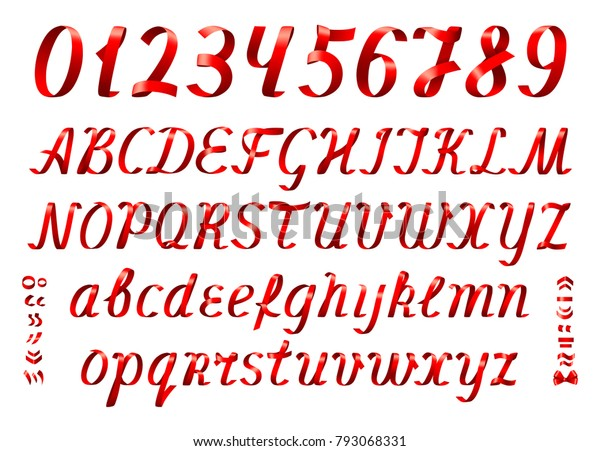 Red Ribbon Alphabet Numbers On White Stock Vector (Royalty