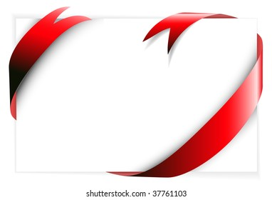 Red ribbon around blank white paper (where you should write your text)