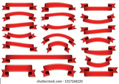 red ribbon banderole set