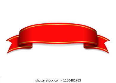 Red ribbon banner. Satin blank. Design label scroll ribbon bow blank element isolated on white background. Empty banner template for greeting, advertising, decoration Vector illustration