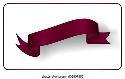Red Ribbon Banner Satin Glossy Bow Stock Vector (Royalty