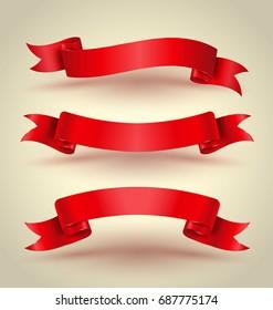 Red ribbon banner set hight quality. Vector illustration.