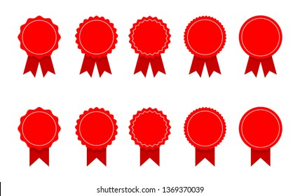 red ribbon and banner. set of premium quality and guarantee labels isolated on white background. vector illustration