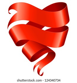 Red ribbon banner in the shape of heart isolated on white background