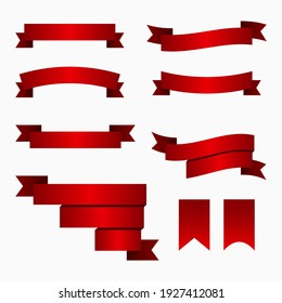 Red ribbon banners and flags. Retro bend tape, vintage banner flag and curved banner isolated flat vector set. Decorative ribbons and streamers.