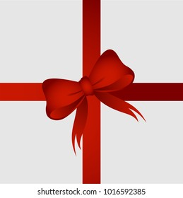 Red ribbon with red bow for gift or present