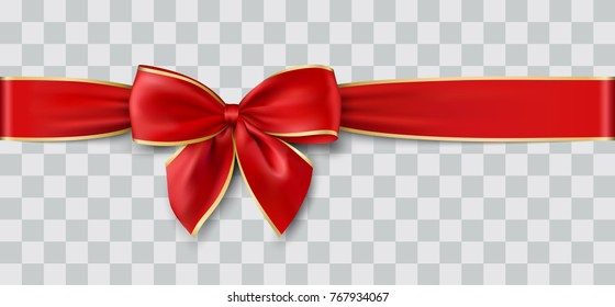 red ribbon and bow with gold for Christmas, vector illustration