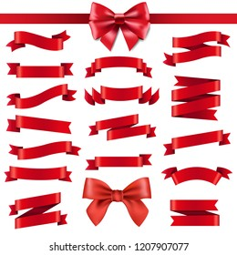 Red Ribbon And Bow With Gradient Mesh, Vector Illustration