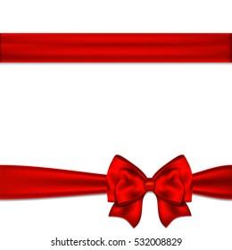 Red ribbon bow horizontal border. Vector illustration.