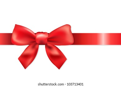 Red Ribbon With Bow, Isolated On White Background, Vector Illustration