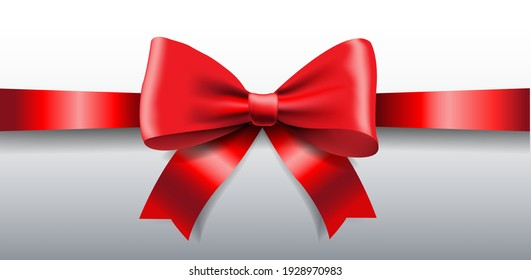 Red Ribbon Bow Isolated White Background With Gradient Mesh, Vector Illustration