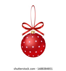 Red ribbon bow red pattern Christmas decoration ball, holiday pendant, hand drawn 3D vector illustration, birthday decorations.