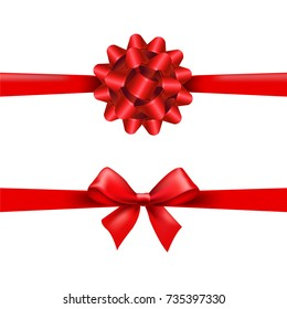 Red Ribbon Bow Set Gradient Mesh Vector Illustration