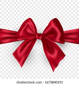 Red ribbon bow with shadow isolated on transparent background.