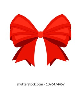 Red ribbon bowknot. Big cartoon scarlet bow vector isolated on white background for christmas gifts, vector illustration