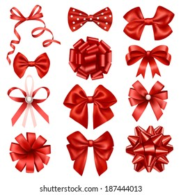 Red ribbon bows