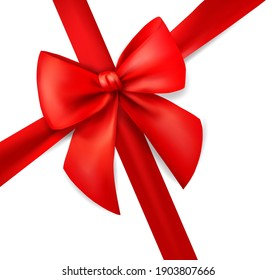 Red ribbon for card on white background. Xmas present. Holiday decoration. Realistic 3d vector illustration.