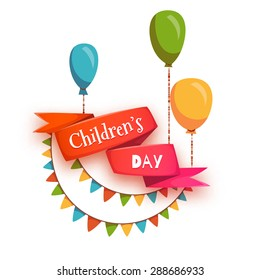 Red ribbon with Children's Day title, balloons and flags. Vector illustration.