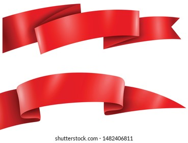 red ribbon collection vector illustration
