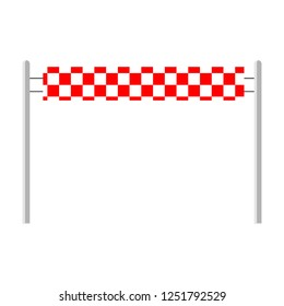 Red ribbon finishing line. Finish. Vector illustration