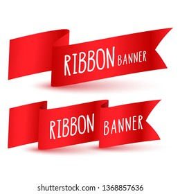 red ribbon flag banners set
