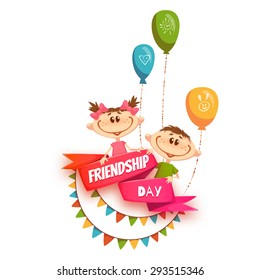 Red ribbon with Friendship Day title, children, balloons and flags. Vector illustration.
