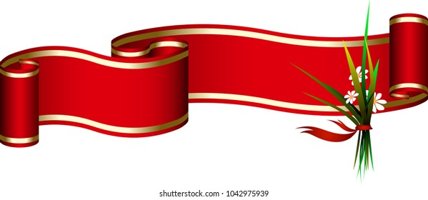 Red Ribbon with Gold Stripes and bouquet of flowers for different holiday titles