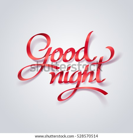 Red Ribbon Goodnight Calligraphy Hand Lettering Stock Vector