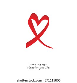 Red ribbon heart. Don't lose hope. Fight for your life! Rare Disease.