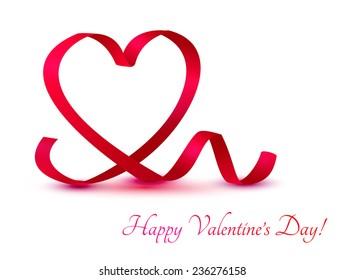 Red ribbon heart on white. Vector illustration