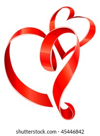 red ribbon hearts - vector illustration for Valentine day