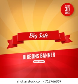 Red ribbon horizontal banners flat isolated vector illustration