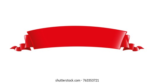 Red ribbon. Long volume curved semicircle arc strip, tape of fabric or paper with curly edges. Decorative design element. Silk elegant retro ribbon with empty space for title writing. Isolated vector