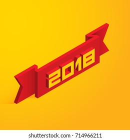 Red ribbon with numbers 2018 on a yellow background. Happy New Year. Vector illustration in isometric style