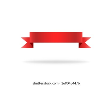 Red ribbon. Premium stripe for decoration. Vector isolated icon. Label or bookmark template. Symbol of flag or design. Curve silk label. Vector EPS 10.